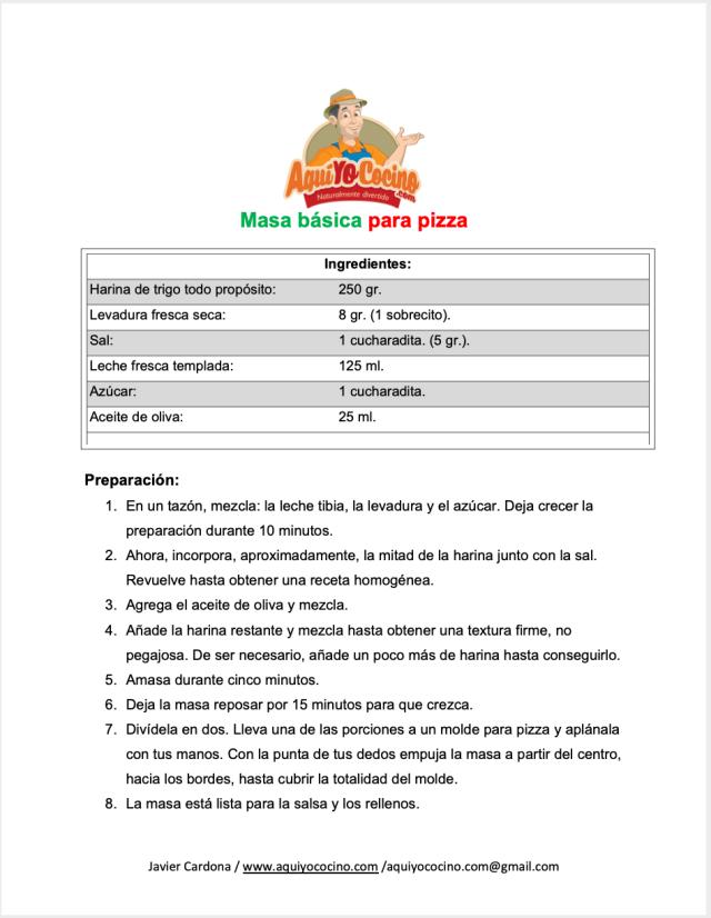 Masa basica para pizza