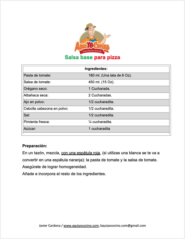 Salsa base para pizza